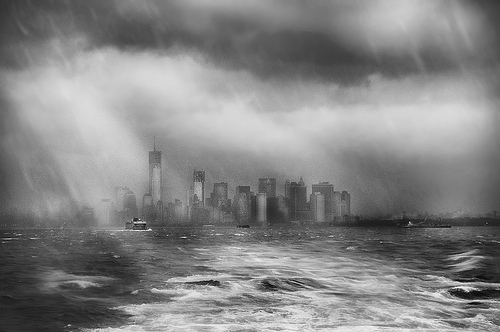 Storm in New York Upper Harbor (black & white) by Harold Davis